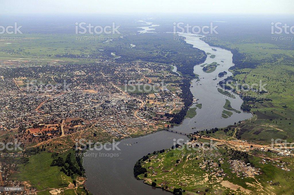 Aerial of Juba, South Sudan's capital stock photo