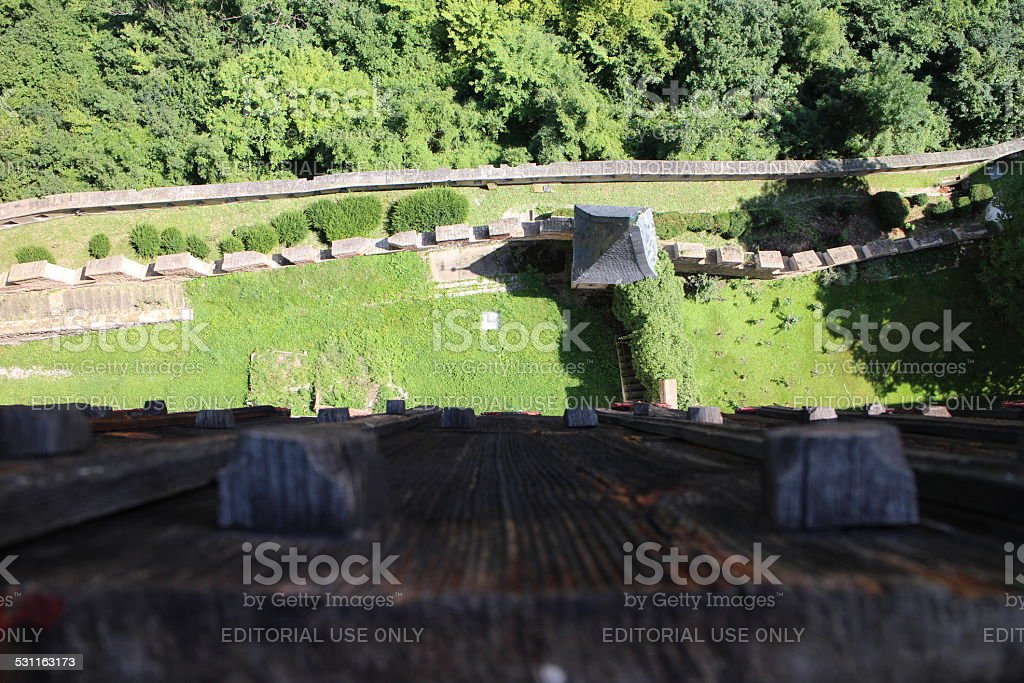 Aerial of Karlstein Castle walls stock photo