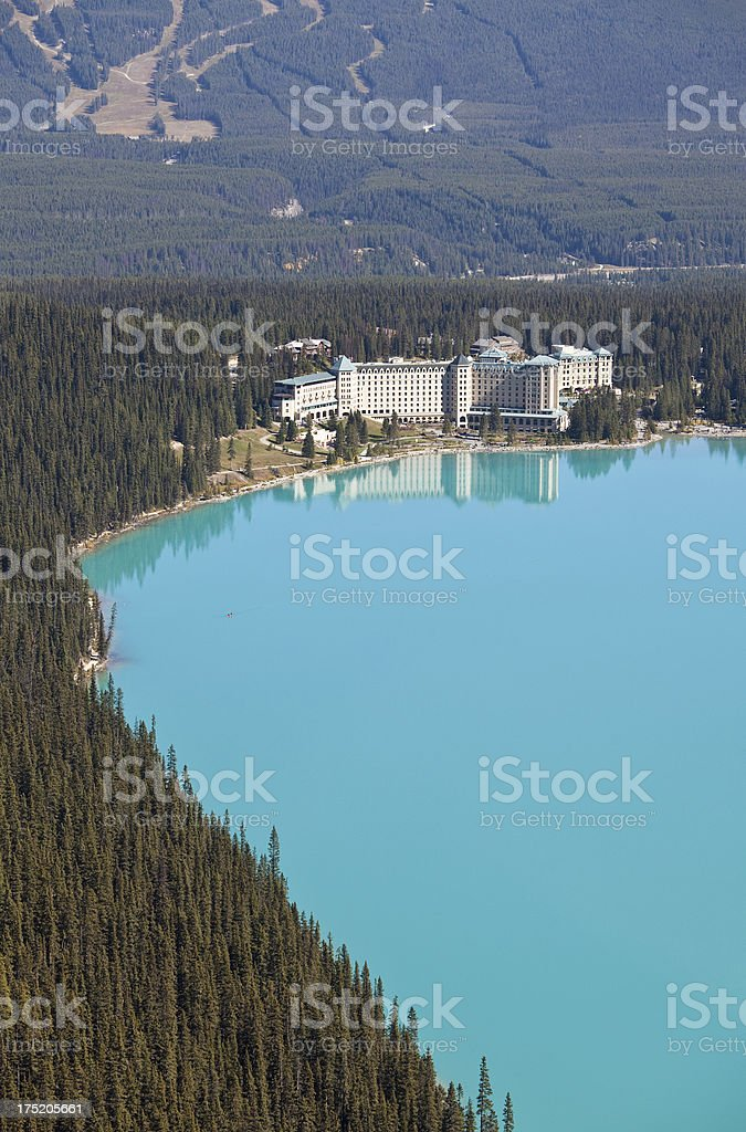 Aerial of Lake Louise Alberta stock photo