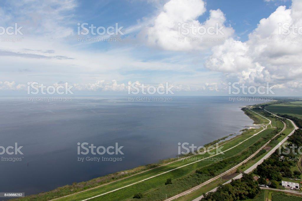 Aerial of Lake Okeechobee Florida stock photo