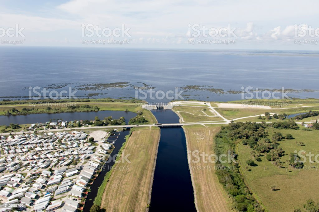 Aerial of Lake Okeechobee stock photo