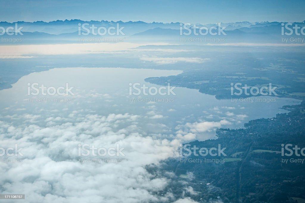 Aerial of Lake Starnberg (Bavaria) stock photo