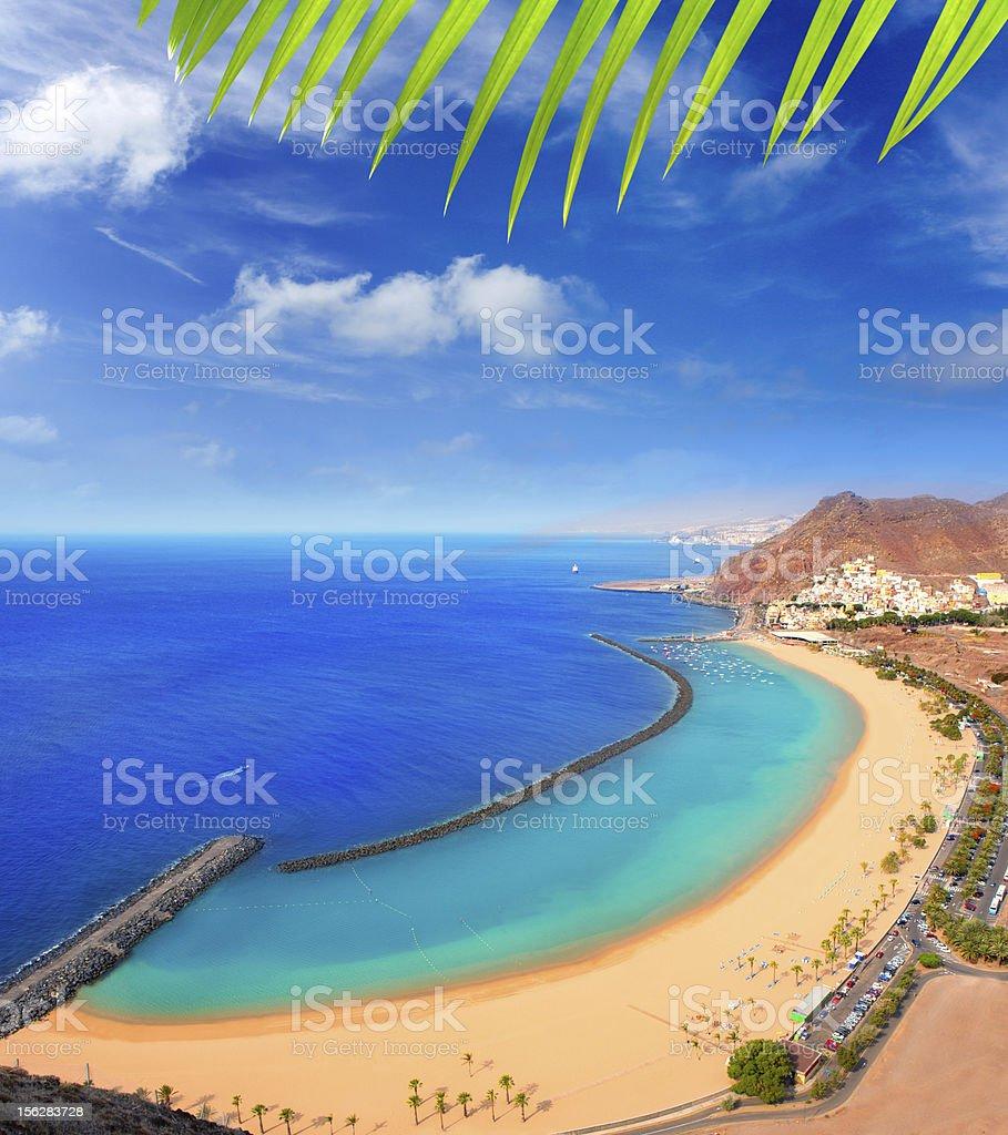 Aerial of Las Teresitas beach, Santa Cruz de Tenerife North stock photo