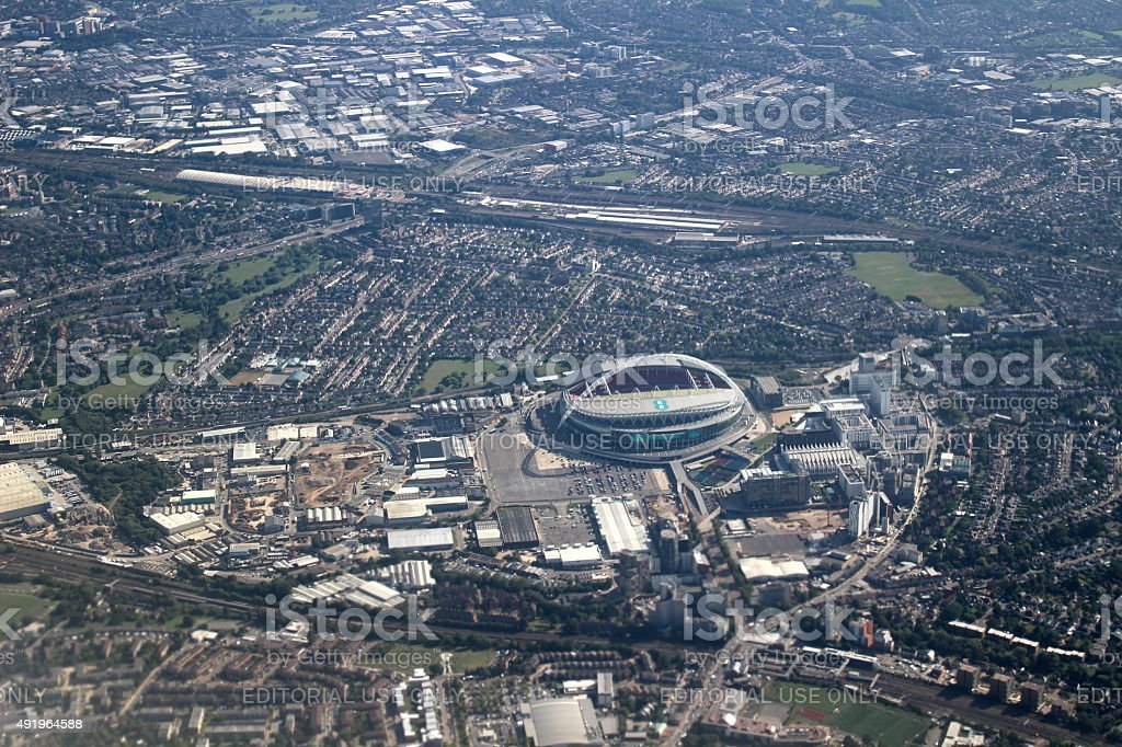 Aerial of London with Wembley Stadium stock photo