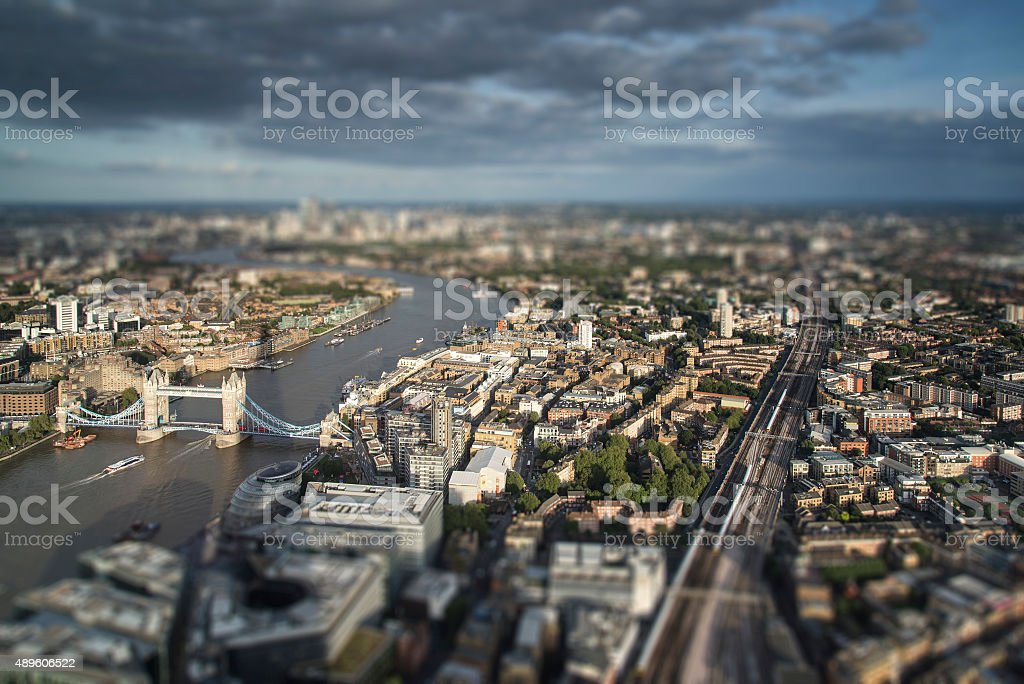Aerial of London with with tilt shift model village effect stock photo