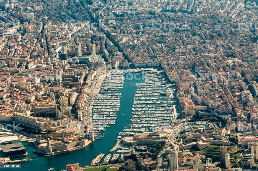 aerial of Marseilles harbor and old town stock photo
