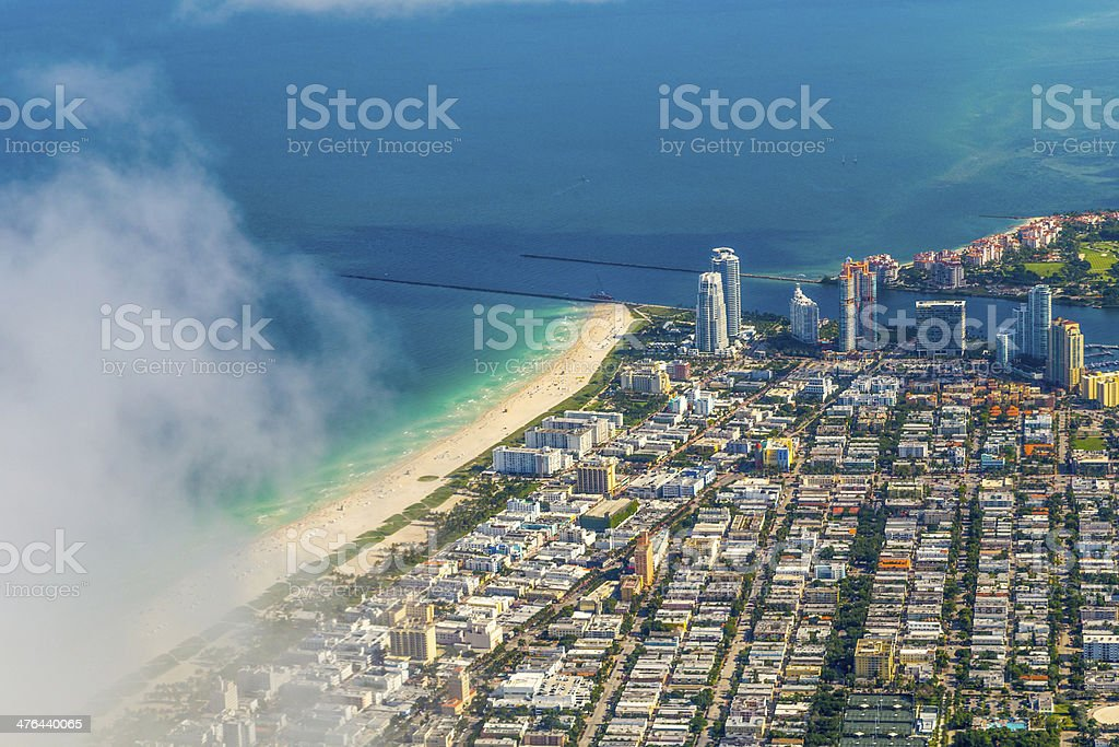 aerial of Miami Beach with town royalty-free stock photo