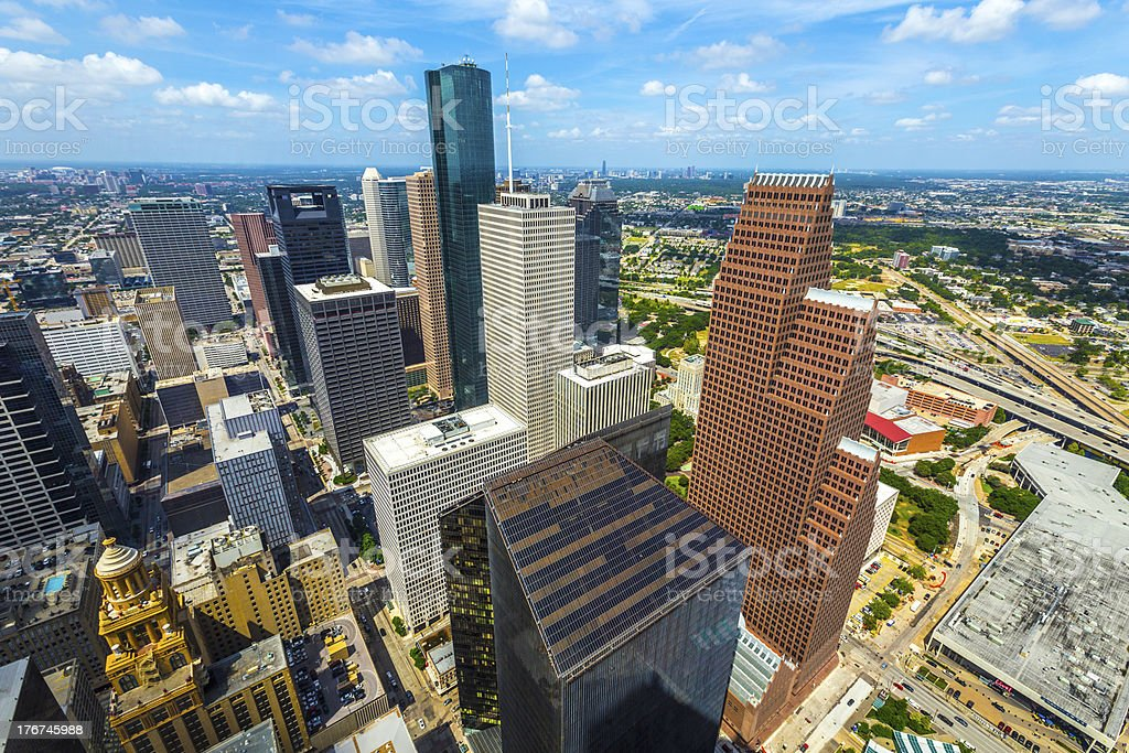 aerial of modern buildings in downtown Houston stock photo