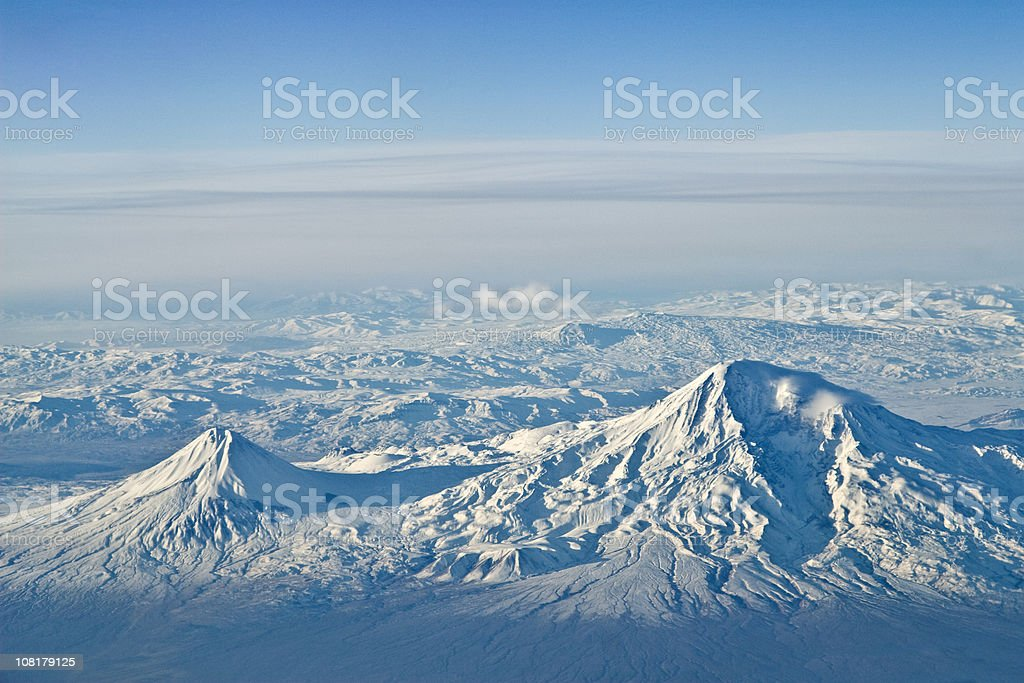 Aerial of Mount Ararat from Armenia stock photo