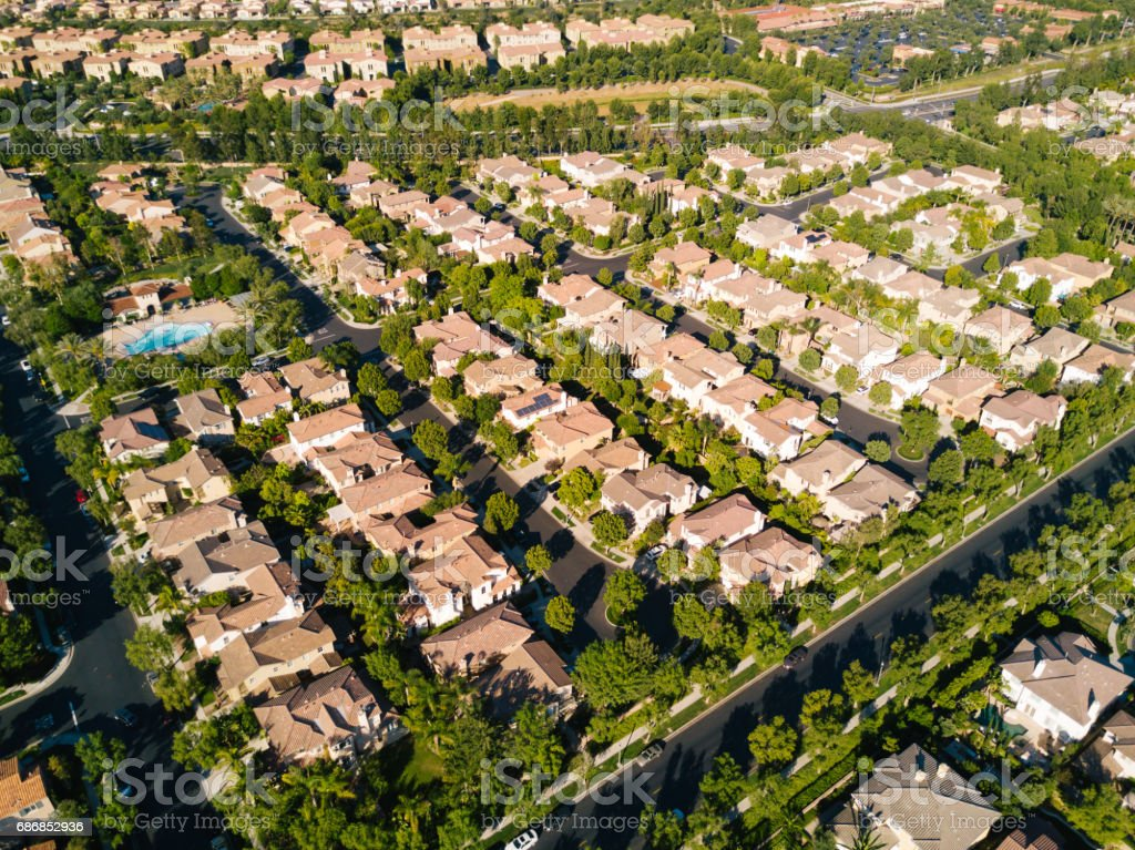 Aerial of Neighborhood stock photo