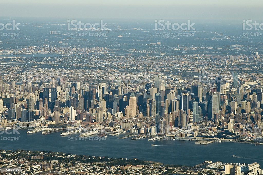 Aerial of New York City stock photo