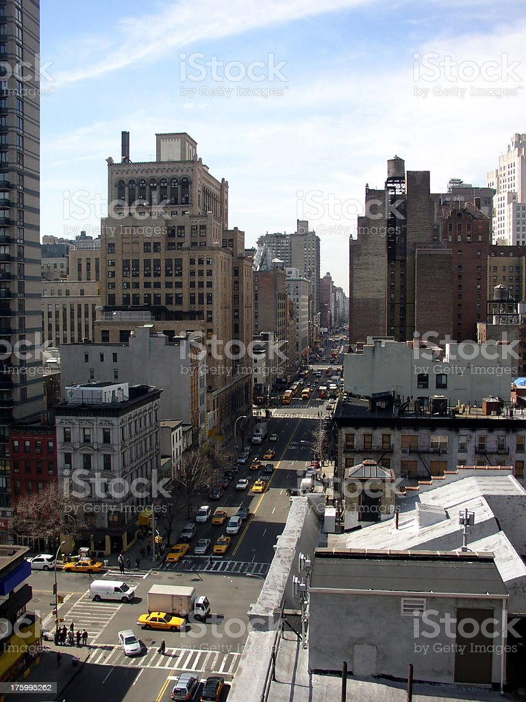 Aerial of NYC Streets royalty-free stock photo