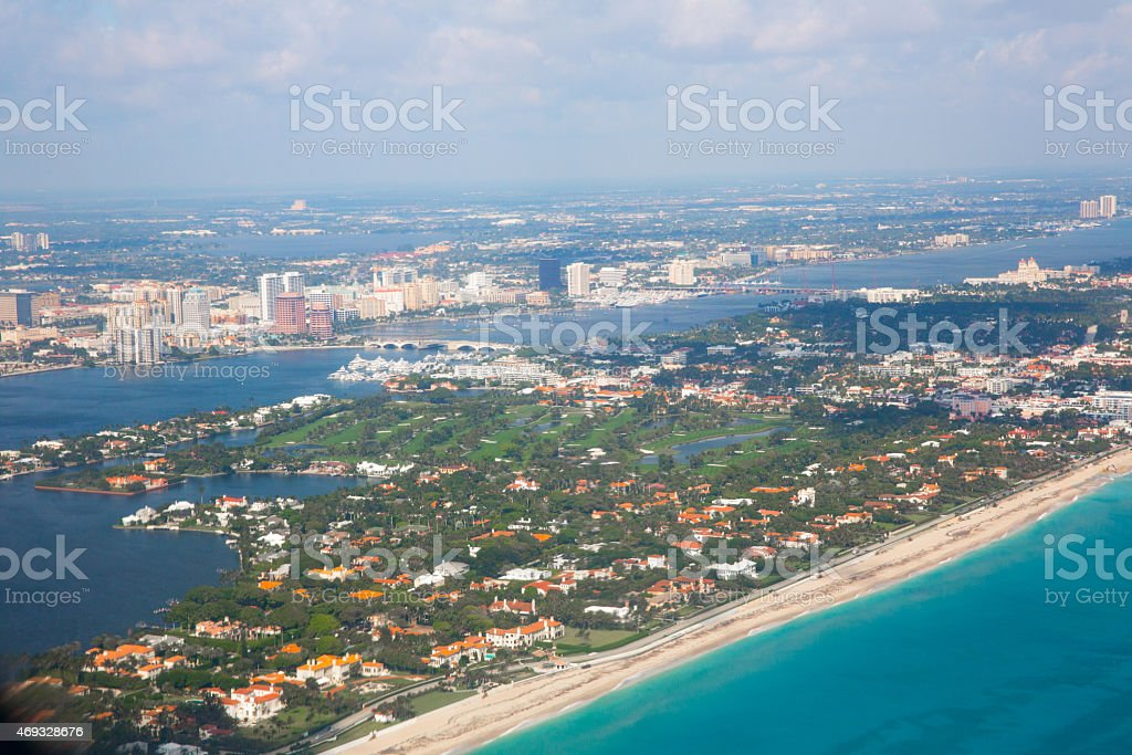 Aerial of Palm beach county florida stock photo