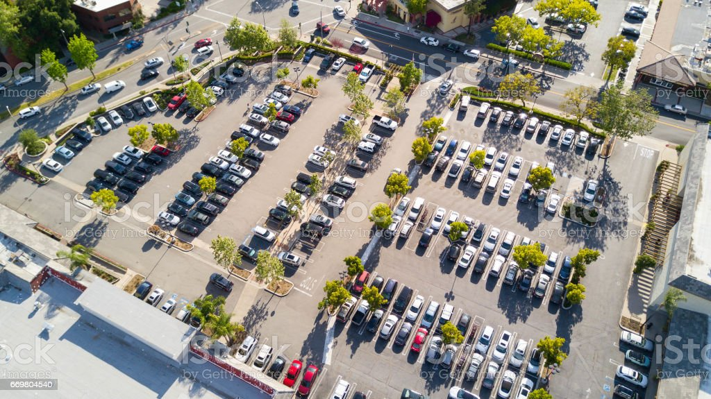 Aerial of Parking Lot stock photo
