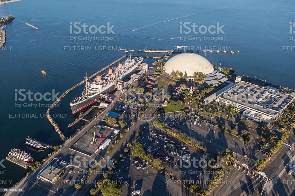 Aerial of Queen Mary in Long Beach California stock photo