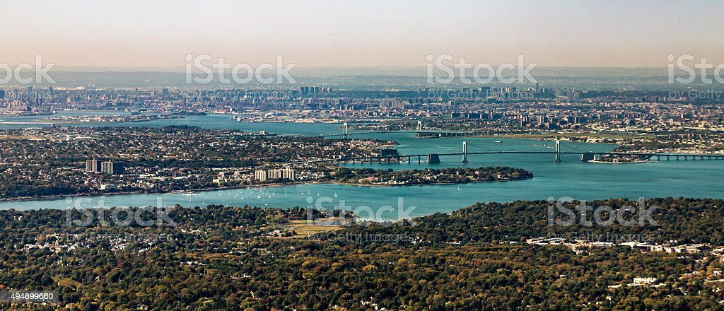aerial of Queens with throgs net bridge and east river stock photo