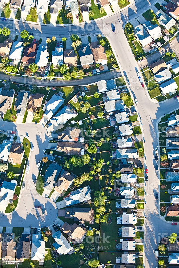 Aerial of Residential Neighbourhood With Grid Streets royalty-free stock photo