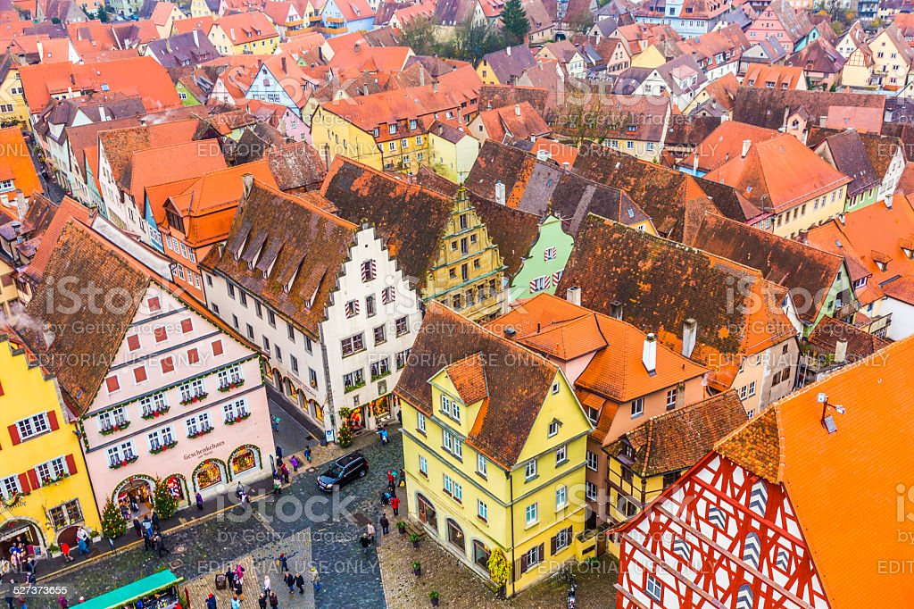 aerial of  Rothenburg ob der Tauber stock photo