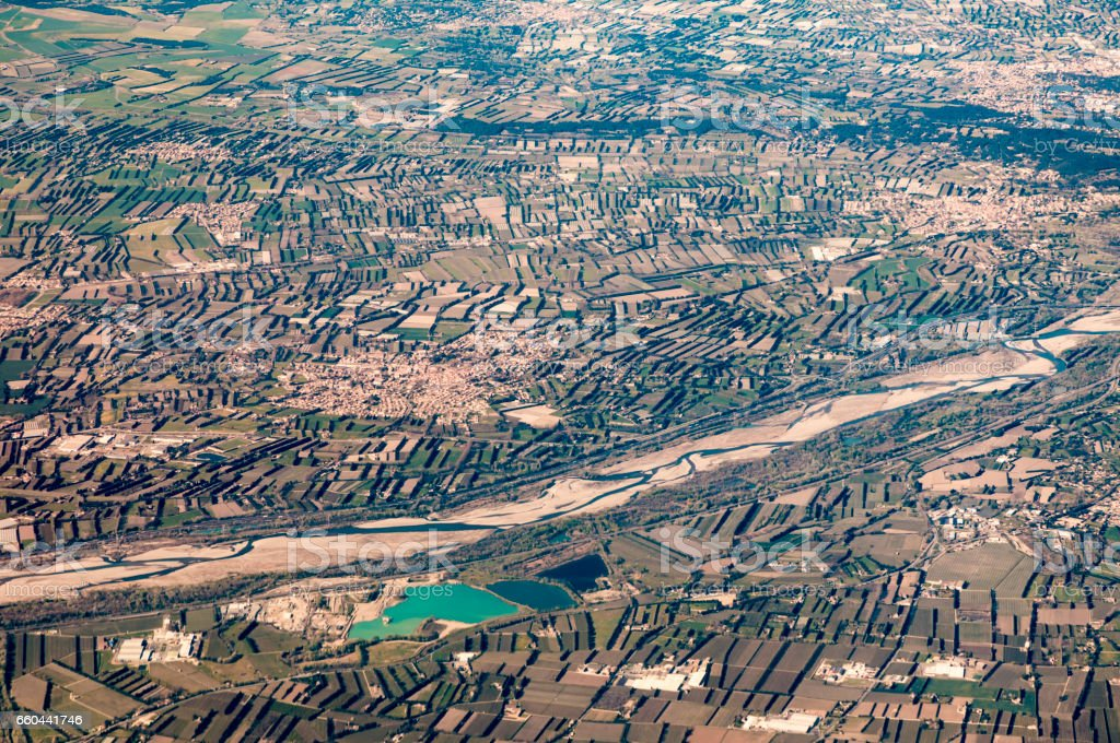 aerial of rural landscape near Marseilles stock photo