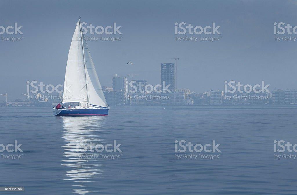 aerial of sail boat royalty-free stock photo