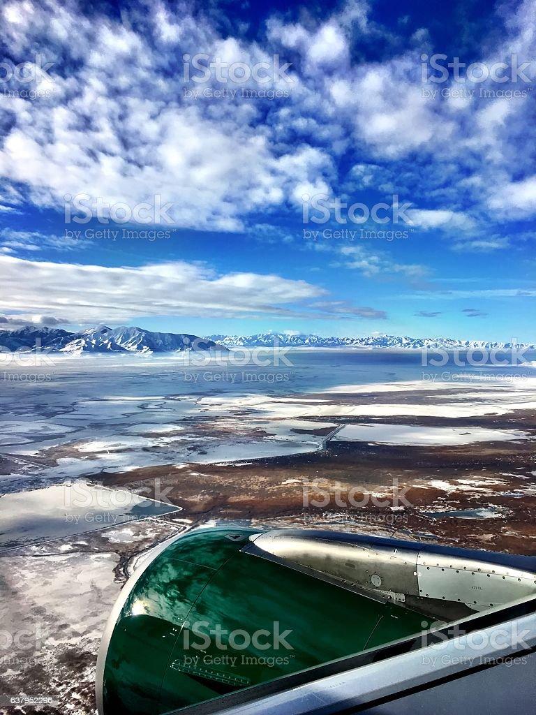 aerial of salt lake city stock photo