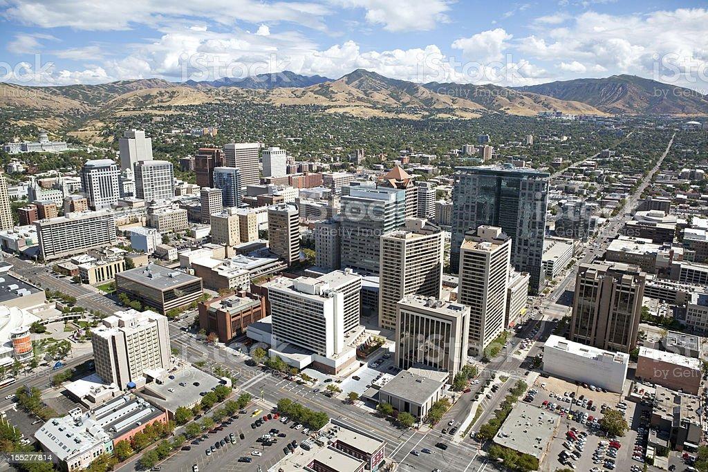 Aerial of Salt Lake City Utah stock photo