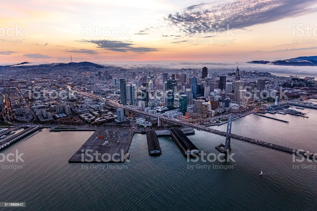 Aerial of San Francisco at sunset stock photo