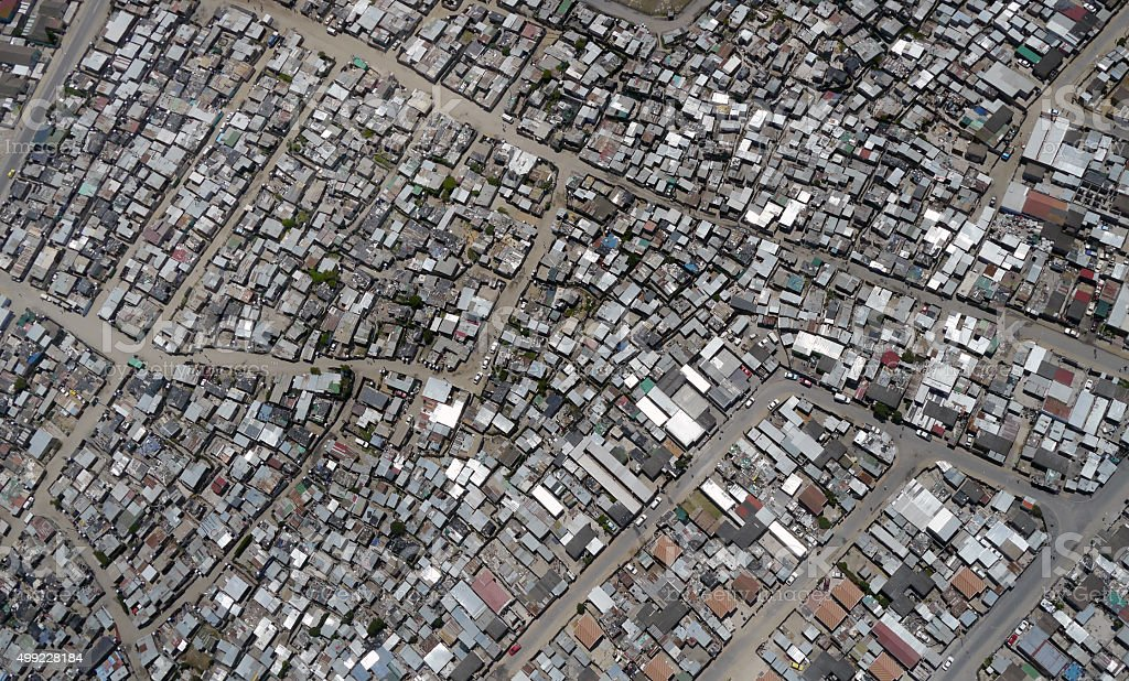 aerial of south african township stock photo