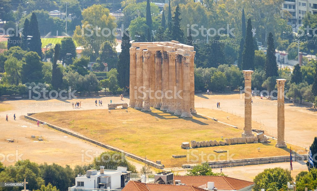 Aerial of Temple of the Olympian Zeus - Athens, Greece stock photo