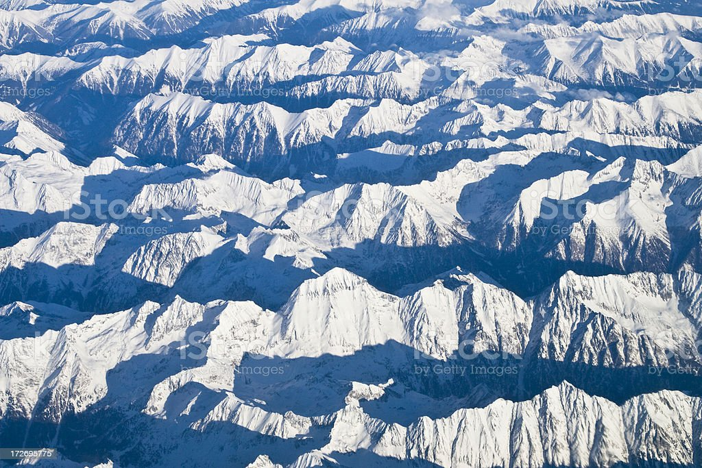 Aerial of the Alps royalty-free stock photo