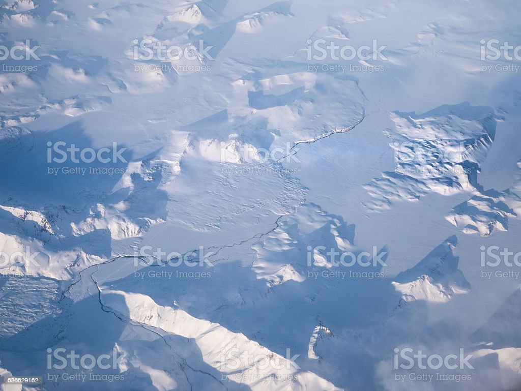 Aerial of the Antartic Landscape stock photo