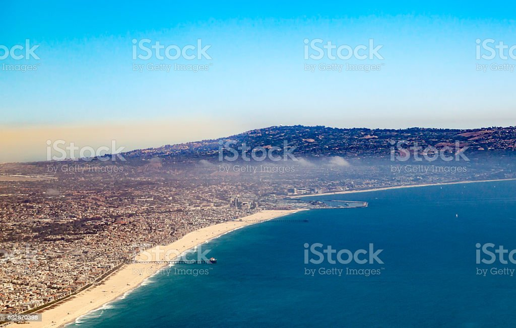 aerial of the beach in Los Angeles stock photo
