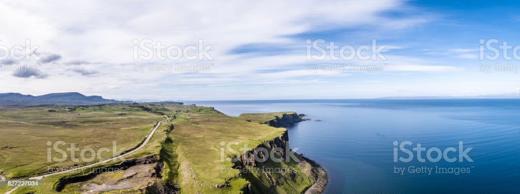 Aerial of the cliffs at Lealt Falls - Isle of Skye - Scotland stock photo