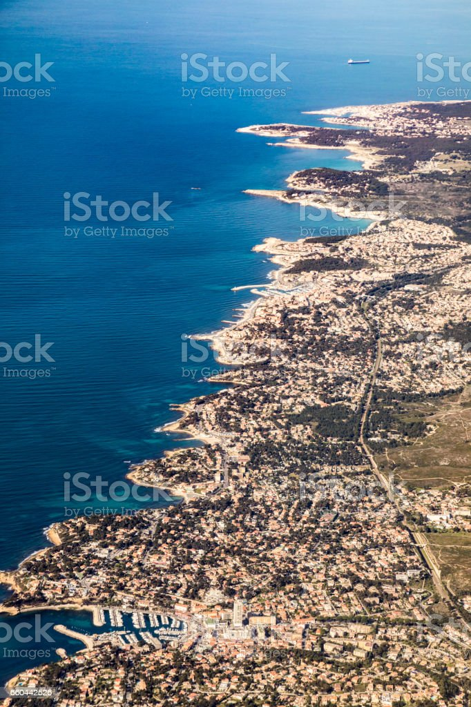 aerial of the coastline at  Garry-le-rouet stock photo