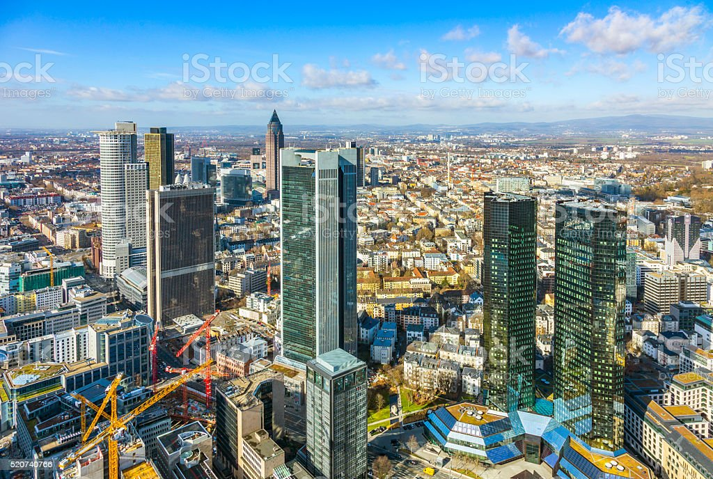 aerial of the financial district in Frankfurt stock photo