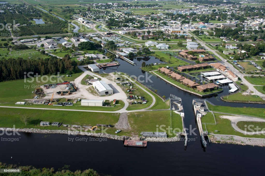 Aerial of the lock at Clewiston Florida stock photo