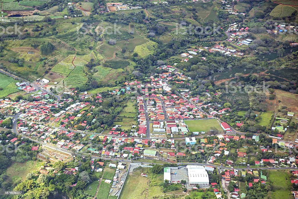 Aerial of tin roof houses in costa rica royalty-free stock photo