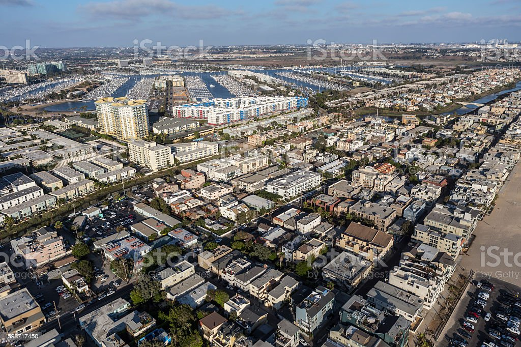Aerial of Venice and Marina Del Rey in Los Angeles stock photo