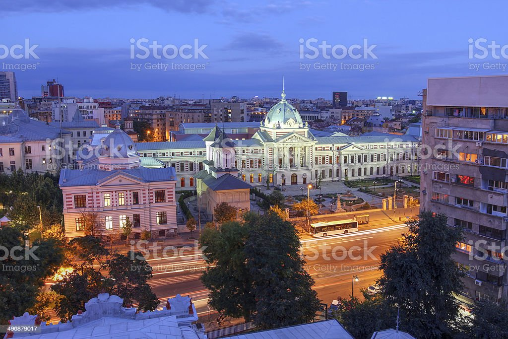 Aerial over Bucharest, Romania stock photo
