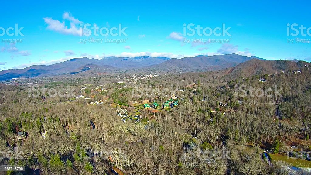 aerial over north carolina mountains stock photo
