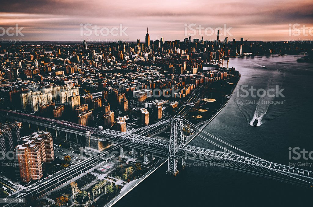 aerial over nyc stock photo