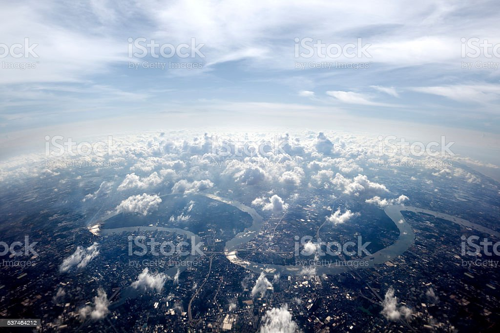 Aerial overview Bangkok cityscape stock photo