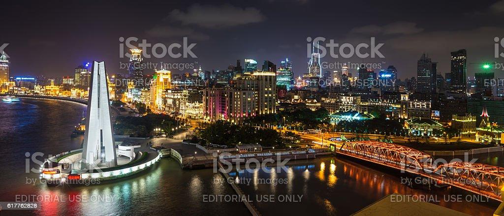 Aerial panorama at night of the Bund in Shanghai stock photo