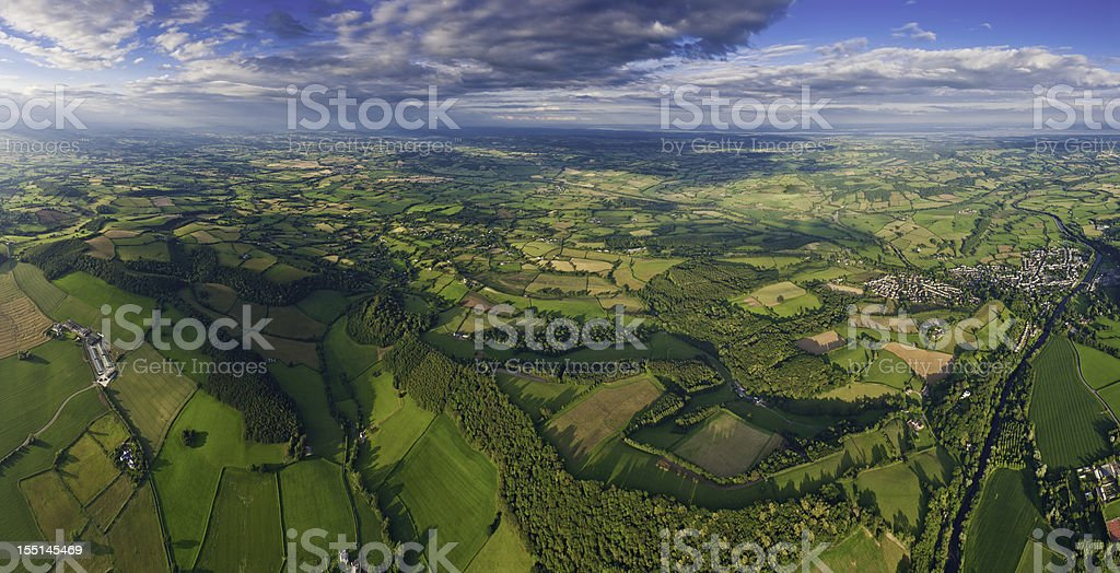 Aerial panorama green summer farms villages royalty-free stock photo