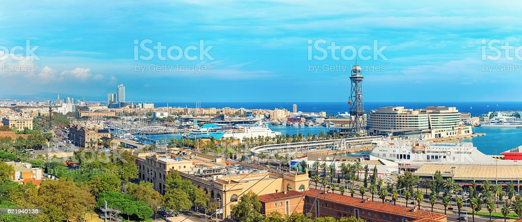 Aerial panorama of Barcelona stock photo
