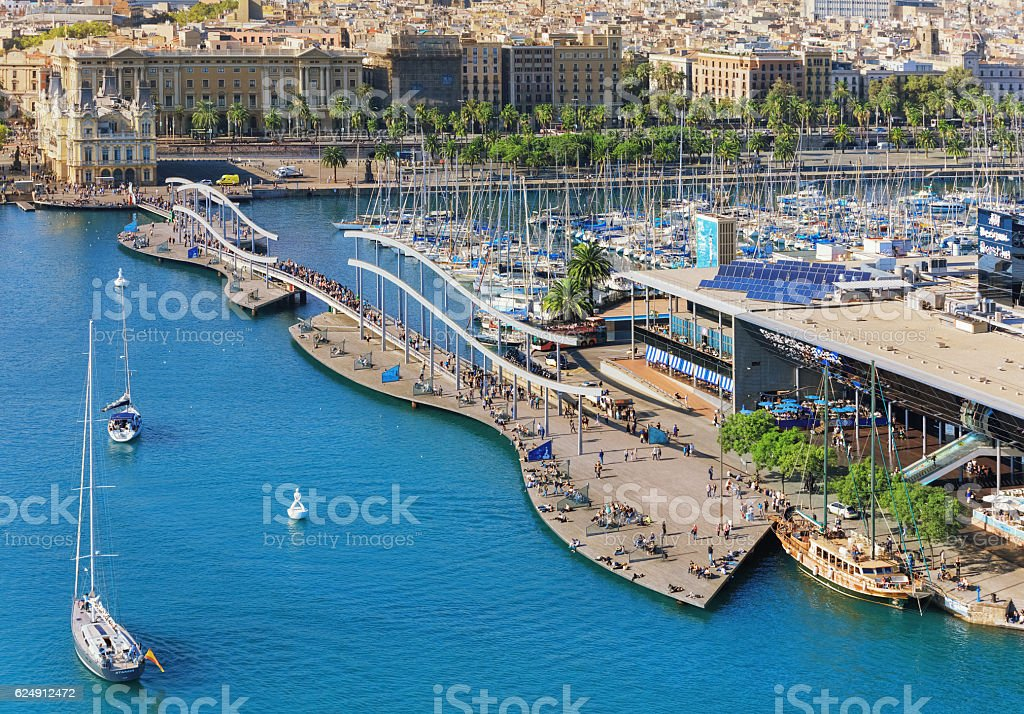 Aerial panorama of Barceloneta stock photo