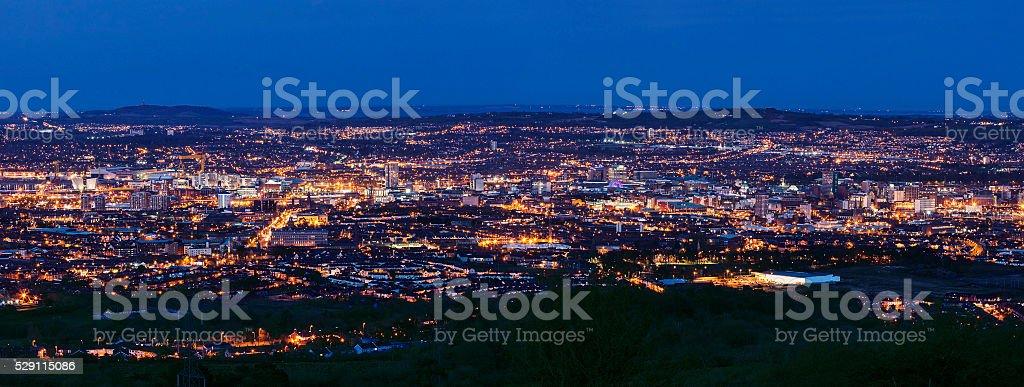 Aerial panorama of Belfast stock photo