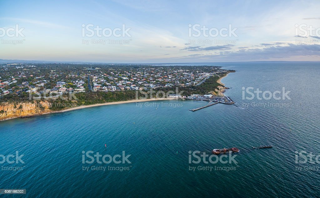 Aerial panorama of Black Rock pier, and shipwreck of HMVS stock photo