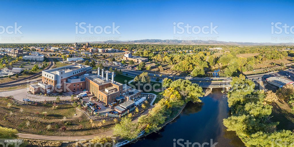 aerial panorama of Fort Collins downtown stock photo