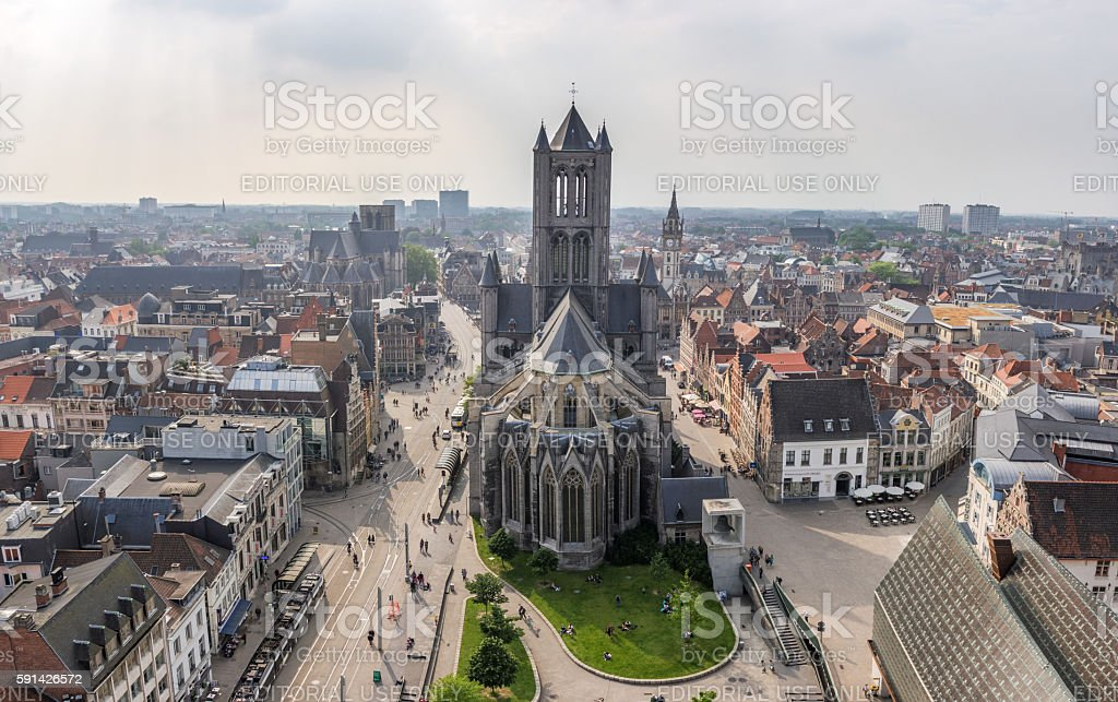 Aerial panorama of Ghent, Belgium, with Saint Nicholas' Church stock photo